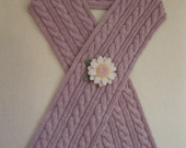Cable Scarf with Flower Pin