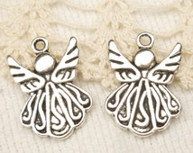Adorable Swirly Angel Charms - Antique Silver (6)