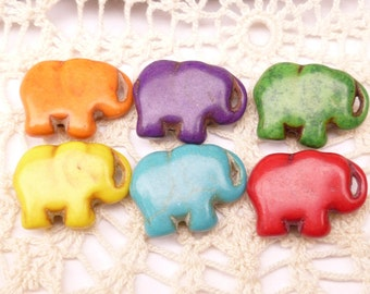 Your Color Choice Howlite Elephant Beads, Orange, Purple, Pink, White (4)