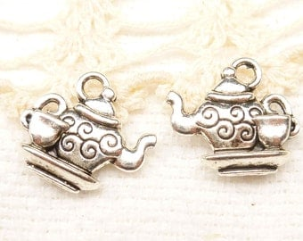Two-Sided Swirly Teapot and Teacup Charms (6) - S128