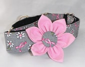"""Martingale Dog Collar 1"""" and1.5"""" - Pink Ribbon - Size S, M, L, XL"""