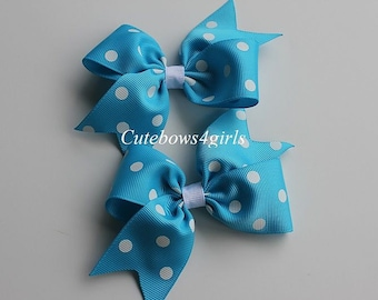2 pigtails bows - baby hair clips - blue hair bow - polka dots bow - girls hair clip - blue polka dots bow - hair bow for pigtails - dot bow