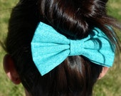 Turquoise and Blue Hair Bow