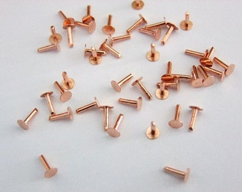 "Copper Solid Rivets 1.3mm Wide x 1/4"" Long Package Of 100"