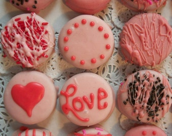 Valentine Pink Chocolate Covered Oreos cookies 12, 1 Dz made to order Pink Chocolate covered Valentine Gift platter