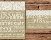 Burlap & Lace Wedding Invitation (2 different burlap options)