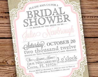 Burlap and Lace Vintage Bridal Shower/Baby Shower Invitation