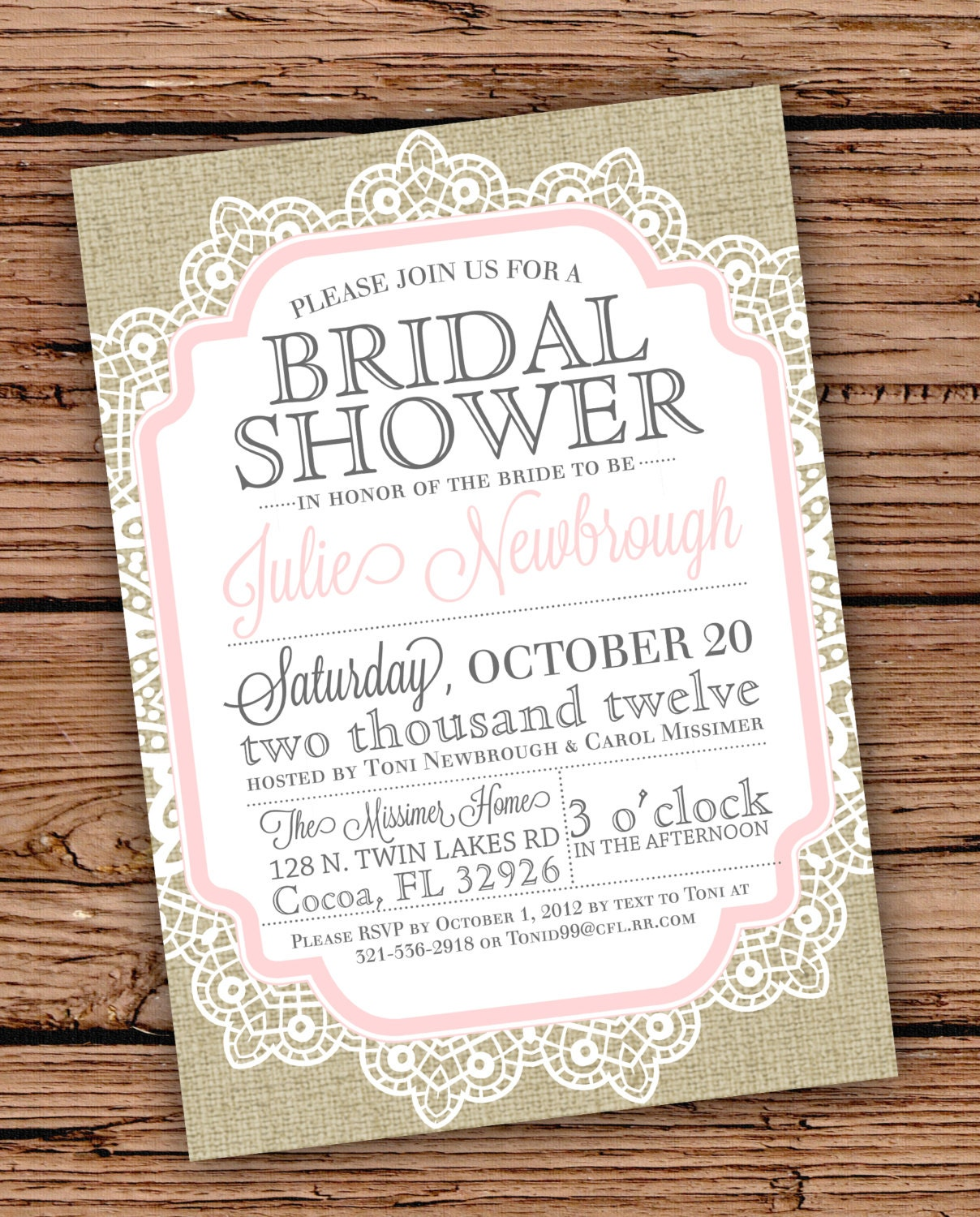 Burlap and lace vintage bridal shower baby by for Classic bridal shower invitations