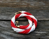 Red and white necklace beaded