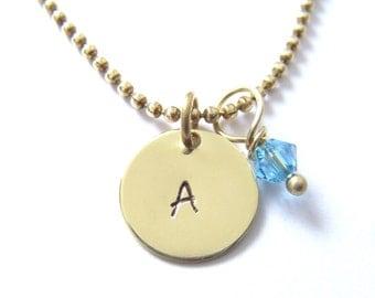 Personalized Initial Necklace, w/ Birthstone, Brass, Handstamped Jewelry, Custom Jewelry, Hand Stamped Necklace