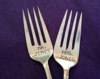 Personalized  Wedding Forks hand stamped bridal accessory