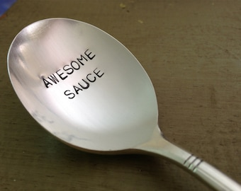 Awesome sauce.  recycled silverware hand stamped  spoon
