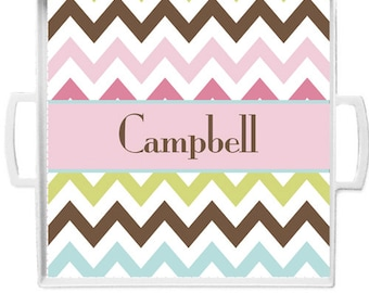 Personalized Square 12x12 Melamine Tray with Handles, rings