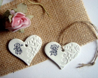 Ceramic Hearts Favors, 50 Wedding Hearts Monogram, Personalized Clay Hearts,