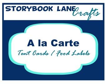 Tent Card / Food Label Printable - A la Carte Party Single
