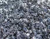Antique Silver Alphabet Beads- letter I- set of 50