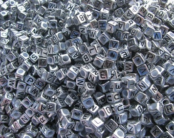 Antique Silver Alphabet Beads- Letter Q- set of 50