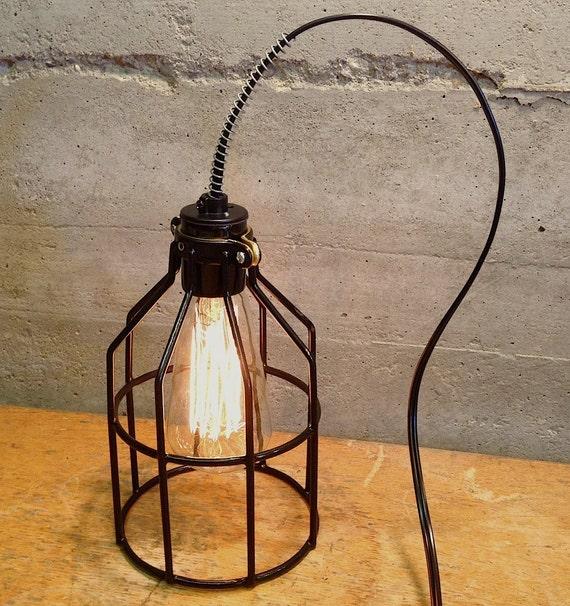 Vintage Style Retro Price. Industrial Cage Edison Lamp. Desk