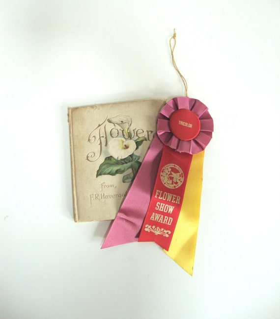 VINTAGE FLOWER Show AWARD - Ribbon Pink Red Yellow - Tricolor - State Garden Club - Unused