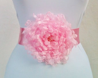 Wedding Dress,Coctail Dress,Night Dress Belt/Sash with Pink Flower,Bride,Bridesmaid.