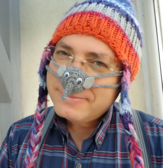 Crochet Nose Warmer : Elephant Nose Warmer, Crocheted, Tween, Teen, Adult, Unisex,Gift ...