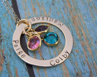 "Mother, Grandmother, Nana 14kt Gold Fill, Filled Personalized Custom Made Hand Stamped 3, Three Name Washer Necklace with Birthstones (1"")"