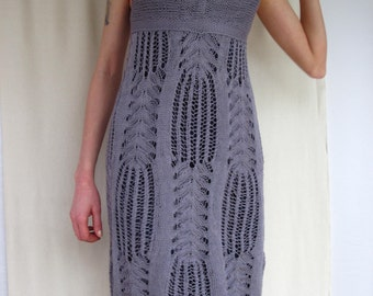 Lace Dress Handknitted Natural Merserize Cotton Steel-Lilac colour