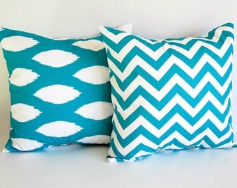 Turquoise throw pillow covers pair cushion covers teal throw pillow covers