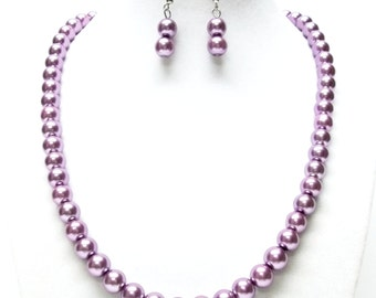 Dark Lilac Glass Pearl Necklace and Earrings Set