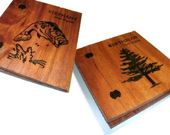 Set of Two Customized Wood Scrapbooks - Photo Album Holds Standard 8.5x11 Pages -Woodburnt With Your Design
