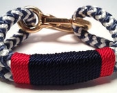 Blue & White Nautical Rope Bracelet with Navy  and Red Wrap and a Bronze Clasp