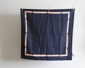 SALE - Vintage Designer Scarf by Deneuve - Navy and Somon