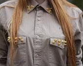 Studded Spiked Shirt Spikes Khaki  Military