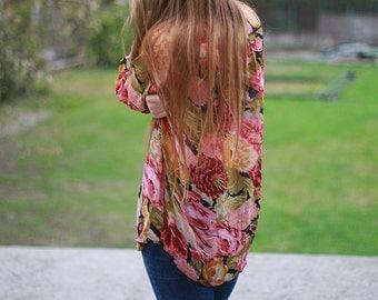 Vintage Floral Shirt Long Oversize Flowers