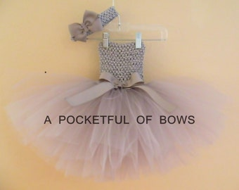 Silver Tutu Dress, Gray Toddler Tutu Dress, Toddler Girl Birthday Dress