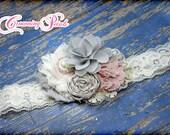 Blush, Grey, Ivory Hair Bow, Hair Piece, Light Pink Baby Headband, Flower Girl Hair Accessories, Fabric Flowers, Fabric Flower Brooch