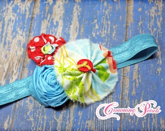 Turquoise, Red Headband, White, Aqua Baby Headband, Fabric Flower Accessories, Hair Piece, Hair Clip, Toddler, Hairbow, Hair Accessory, Bow
