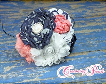 Navy, Coral Headband, Girls Hair Accessories, Fabric Flower Hair Clip, Hair Piece, Baby Girl Hairbow, Baby Hair Bow, Infant, Toddler