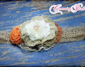 Tan Burlap, Orange, Cream Headband, Natural Burlap Hair Accessory, Fabric Flowers, Baby Girl Hair Clip, Hair Piece, Hair Bow