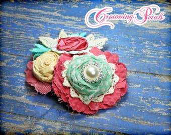 Headband, Baby Girl Hair Bow, Mint, Coral, Pale Yellow Fabric Flower Hair Accessories, Baby Girl Hair Piece, Brooch Pin