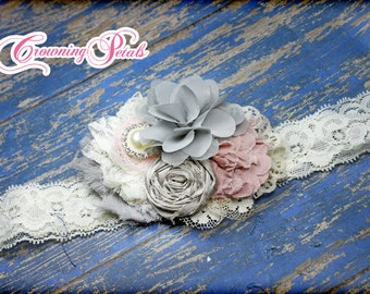 Blush, Grey, Ivory Hair Bow, Hair Piece, Light Pink Baby Headband, Flower Girl Hair Accessories, Fabric Flowers, Fabric Flower Brooch