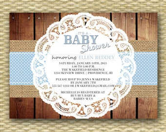 Country Baby Shower Invitation Rustic Baby Shower Baby Boy Shabby Chic  Shower Rustic Wood Burlap Lace