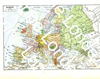 1922 Vintage Europe map Antique Europe map Historical Europe map French dictionary page Old map of Europe Geography decor Classroom decor