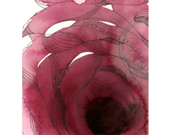 """Octopus Painting - An Intimate of Octopuses - Fine Art Giclee Print of 8""""x10"""" Painting"""