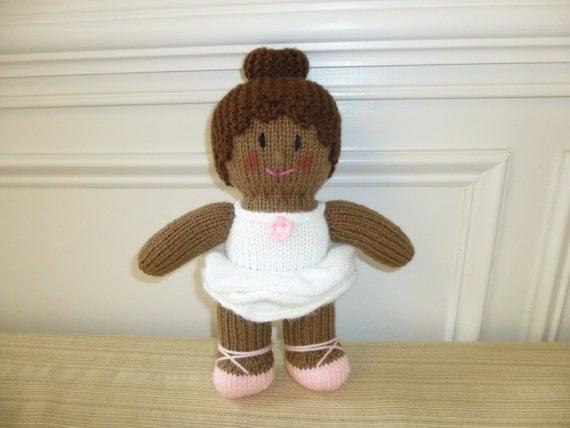 Ballerina Doll Soft Toy Recital Knitted by HandKnitsbyElaine