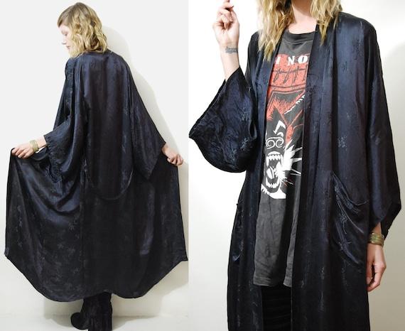 70s Vintage Silk Kimono Robe Black Long Duster Jacket Chinese