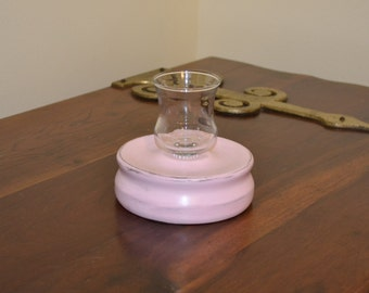 Votive Candle Holder Pink Wood and Glass Shabby Garden Upcycle Recycle Handmade LittlestSister
