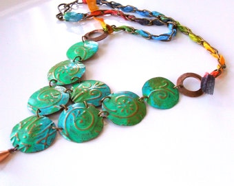 Blue green metalwork necklace - Embossed statement necklace