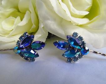 Sapphire Blue Bridal Hair Pins, Blue Bridal Hair Accessories, Blue Hair Comb,Blue Wedding Hair Pins, Blue Wedding Hair Comb, Blue Tiara,Hair