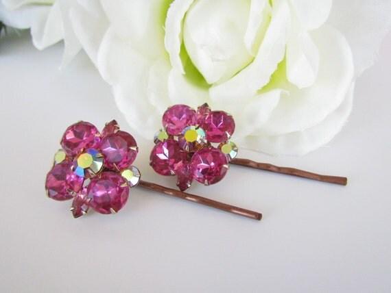 Bridal Hair Accessories, Pink Wedding Hair Pins, Crystal Bridal Hair, Pink Flower Hair Comb, Bridal Headdress, Bridal Headpiece, Hair Pins